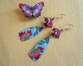 Vintage Tin Earrings, Tin Earrings, Recycled Tin earrings, Upcycled Tin earrings, Floral tin earrings, Boho earrings, Flowers, Hippie, Gypsy