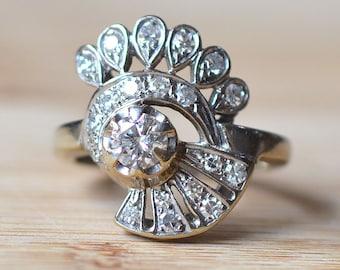 Vintage 0.68 Carat Total Weight Diamond Ring - Diamond Engagement Ring - 1940s Engagement Ring - Center Diamond Engagement Ring