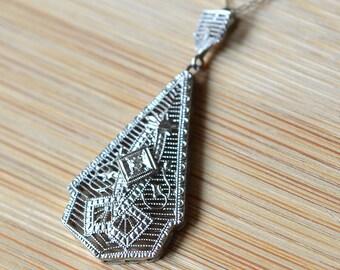 Vintage Art Deco Diamond Pendant and Chain - Vintage 1930s Triangle Shape Pendant With Diamonds - Diamond Pendant With Filigree Design