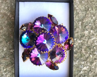 Vintage Brooch With Rivoli Rhinestones which Flash Purple and Aqua