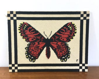 Vintage Large Butterfly Needlepoint Art/ Mid Century Craft. Red, Orange, Yellow. Embroidery. Bohemian Home. Gallery Wall. Boho Style.