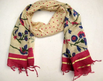 Hand printed scarf/ multicolored  scarf/ cotton silk scarf/  floral scarf/handloom scarf/ gift scarf / gift ideas.