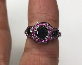 Art Deco 6mm Natural Black Diamond Center Pink Sapphire Engagement Ring Vintage Wedding Three Stone Ring 14K Black Gold Fine Jewelry -V1111