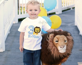 Boys Lion Birthday Shirt Embroidered Personalized Custom ANY AGE First Second Third