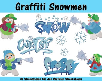 Graffiti snowmen for the 13x18cm frame
