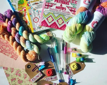 STATIONERY YARN CLUB, exclusive yarn and stationery monthly club. Receive hand dyed yarn and stationery goodies each month.