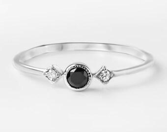 Black diamond engagement ring, 3mm conflict free diamond, three stone ring, 14k 18k gold, platinum, sta-r103-bdia