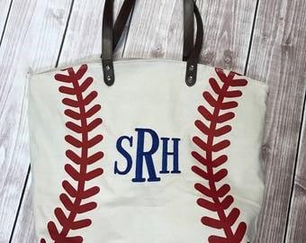 Monogrammed Baseball Tote - Personalized Bag - Embroidered Tote - Baseball Bag - Baseball Mom - Coaches Wife