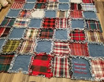 Memorial Rag Quilt for baby or toddler, shirts, memories, patchwork, deceased parent/grandparent