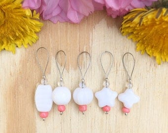 Czech White Stitch markers | knitting stitch markers| knitting Accessory | Knitting Notions