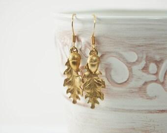Oak Leaf Earrings, Acorn Earrings, Oak Leaf Jewelry, Woodland Jewelry, Acorn Jewelry, Leaf Earrings, Brass Earrings, Woodland Earrings