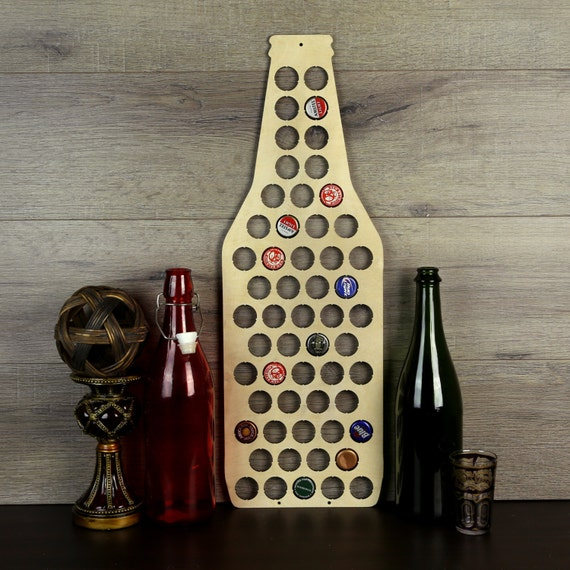 Beer bottle cap holder wood beer cap display beer cap wall for Beer bottle picture frame