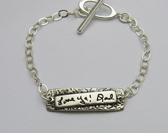 Personalized Silver Handwriting Bracelet, Handwriting Jewelry, Bar Handwriting Bracelet, Handwriting Bar Bracelet, Signature, Memorial