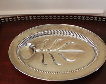 Vintage Kent Silversmith Classic Footed Tree of Life Silverplate Oval Meat Platter