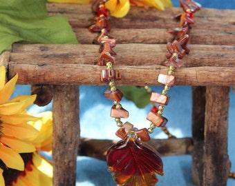 Autumn Splendor Seashell Beaded Necklace