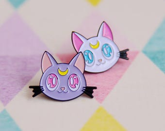 Luna and Artemis, Sailor Moon Style Soft Enamel Pins