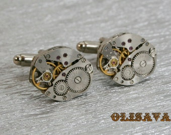 SALE...Watch Movement Cufflinks  ,  Steampunk Cufflinks . Steampunk jewelry.Vintage Clockwork Watch Movement Cuff Links