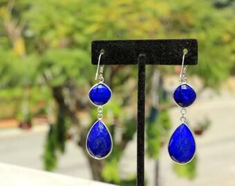 Lapis Earring,Lapis Lazuli Sterling Silver Checker cut Dangle earring, lapis blue,Gifts under 20