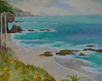 Beach watercolor seascape framed watercolor painting original coastal painting pacific ocean fine art painting sea painting California