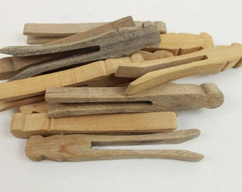 Vintage Clothespins, Lot of 12, Used, Wood, Worn, Aged, Wooden, Set of 12, for Laundry or Crafts