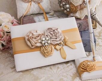 Wedding Guest Book Wedding Guestbook Custom Guest Book Custom Design Wedding Gift Champagne and Gold Guestbook and Pen Holder