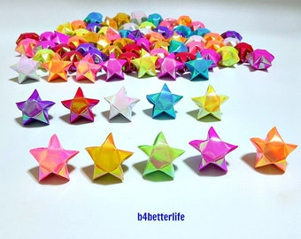 70pcs Assorted Colors Hand-folded Big Size Lucky Stars. (AV Paper Series). #FOS-34.