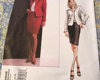 Vogue 2808 Misses Anne Klein Jacket and Skirt Pattern, Size 12 - 16, UNCUT