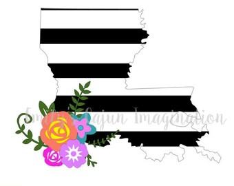 Striped Louisiana Floral SVG file