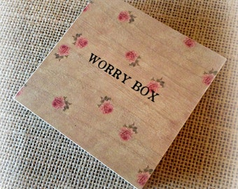 Worry Box - Vintage Rose Design - Children & Adults - Handmade with Love in England