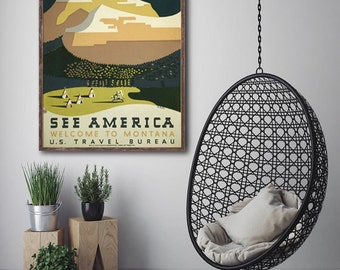 See America: Welcome to America WPA poster reprint - 4 sizes up to 22x28 - Home/Office/Kid's Decor Print
