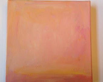 """Abstract, original, painting, Tangerine Sky - Elements - acrylic on canvas - 8"""" x 8"""" x 1 1/2"""""""