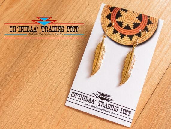 Gold Dangle Native Feather Earrings by SommerNani