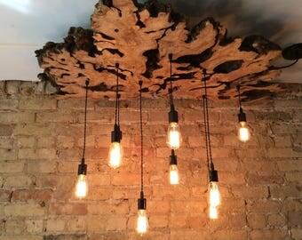 Customized Large Live Edge Slab Light Fixture with Edison bulbs. Artistic Chandelier. Modern