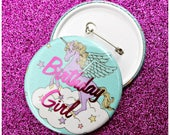 Unicorn Birthday Girl Badge. Accessories. Lilac. Rainbows. Unicorns. Magical. Birthdays. Button Badge. Pin.  Gift. Present. Birthday Card.