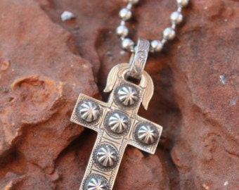 MOTHER'S DAY Studded Sterling Cross-features antique nail heads and western style engraving