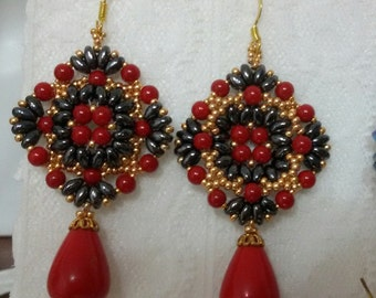 Red-hematite Earrings-Earrings