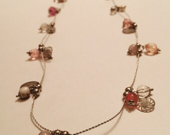 Long simple beaded chain necklace