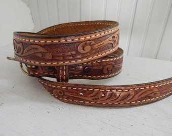 Hand Tooled Western Leather Belt with Silver Buckle - Vintage 1970's Clothing Accessory - Leather Belt - Western Wear Hand Tooled Belt