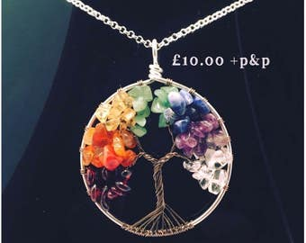 Chakra, tree of life, wire work necklace, tree of life jewellery,