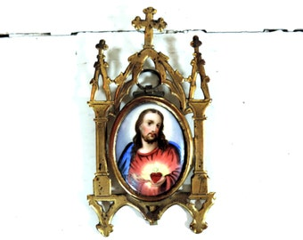French Antique Sacred Heart Of Jesus Painting/ Antique Jesus Christ Painting/Sacred Heart Of Jesus Painting On Porcelain In Brass Frame