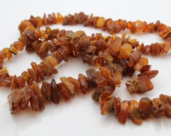 "Antique 32"" Strand of Raw and Unpolished Baltic Amber. [12148]"