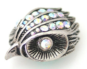 KB8816  Antiqued Silver Hummingbird With Rainbow Crystal Accents