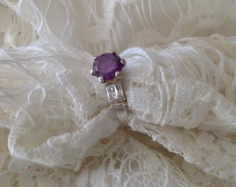Sterling silver amethyst ring, amethyst ring, sterling silver ring, engagement ring, for her, vintage ring, christmas gift