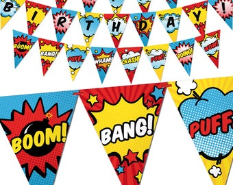 Superhero Birthday Banner - Comic Book Theme Bunting Banner - Printable Pennant Garland - Superheroes Birthday Party Decorations - Digital