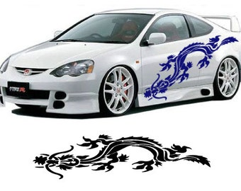 Chinese Tribal Dragon Car Decals / two 48 inch decals included, one for each side of vehicle  AA22