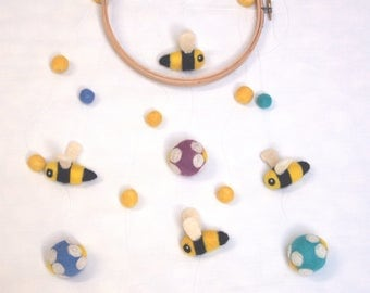 The Flowers and Bees (needle felted)
