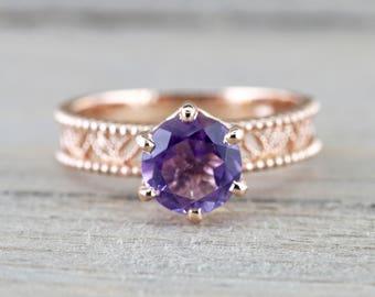 14k Rose Gold Round Purple Amethyst Ring Vintage Floral Milgrain Vines Anniversary Engagement Wedding Ring Band