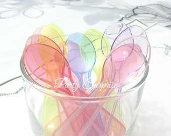 "Mini Spoons Disposable Assorted Pastel Colors 3"" Food Safe Pink Lavender Blue Clear Green Red Ice Cream Dessert Bar Toppings Little Spoons"