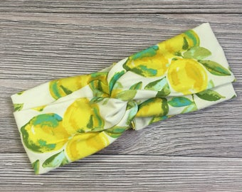 Lemon Print Turban Headband for Women - Boho Headband - Headbands for women