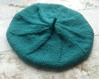 Knitted Beret - Knitted Tam - Teal Hand Knitted Beret - Merino Blend